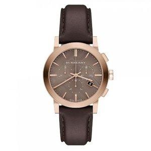 New Burberry Chocolate Leather Unisex Watch BU9755
